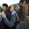 Siena Faughnan, 15, left, and her grandmother Joan Faughnan, with Maureen Stines comfort each other at the 9/11 Memorial on Friday as they remember Chris Faughnan who died in the World Trade Center attacks. <br /> <br /> Sept. 11, 2009<br /> Staff photo/David R. Jennings