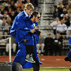The last two graduates David Techmanski is carried by  by fellow graduate Kyle Megna during Saturday's Broomfield High graduation at Elizabeth Kennedy Stadium.<br /> May 22, 2010<br /> Staff photo/ David R. Jennings