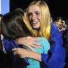 Margaret Vogt hugs a friend after Broomfield High graduation at Elizabeth Kennedy Stadium on Saturday.<br /> May 22, 2010<br /> Staff photo/ David R. Jennings