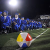 A beach ball rests in the aisle after being tossed by graduates during Saturday' Broomfield High graduation at Elizabeth Kennedy Stadium. <br /> May 22, 2010<br /> Staff photo/ David R. Jennings