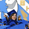 Tink Foster points to her friends and family during the Broomfield High graduation at Elizabeth Kennedy Stadium on Saturday.<br /> May 22, 2010<br /> Staff photo/ David R. Jennings