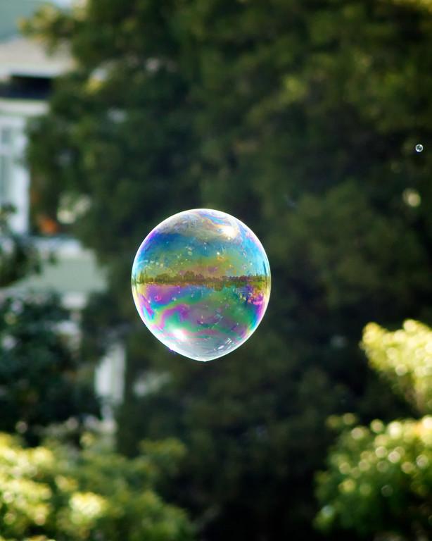 Bubble reflecting its surroundings.