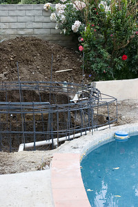 Steel edge where the water return for the pool will be.