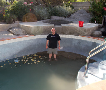 So, we had about a foot of sand in the shallow end of the pool. :(  We thought about stocking it with fish at this point.