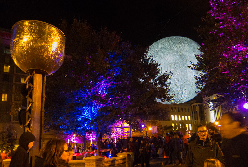 20191102 (2029) 'Bull Moon Rising' installation, Durham NC (image by Dilip Barman)
