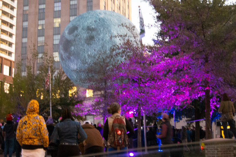 20191102 (1831) 'Bull Moon Rising' installation, Durham NC (image by Dilip Barman)