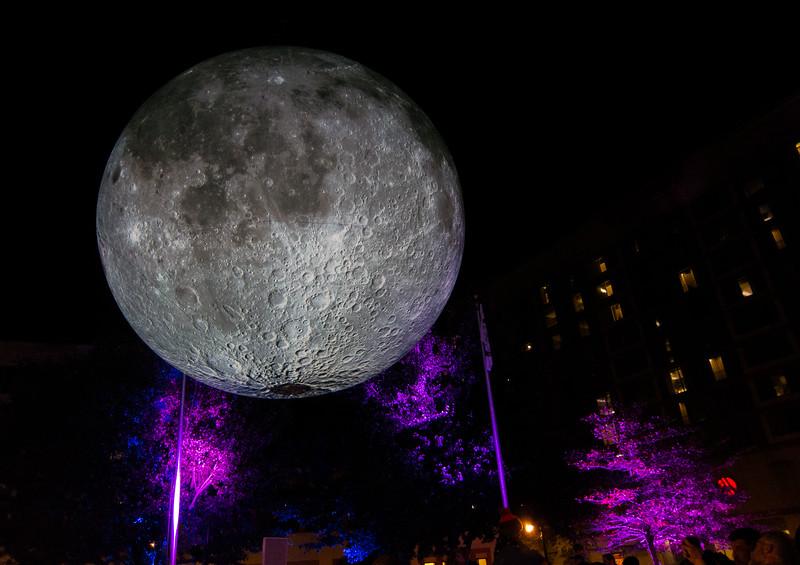 20191102 (2035) 'Bull Moon Rising' installation, Durham NC (image by Dilip Barman)