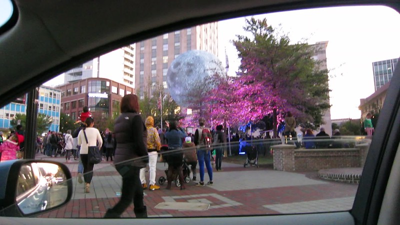 20191102 (1830) 'Bull Moon Rising' installation, Durham NC - quick daytime view from car (video clip by Dilip Barman)