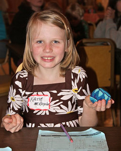 Katie with her Baby Bunco prize