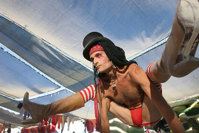Randall Alan the Furtografer during the Burning Man Fashion Show.