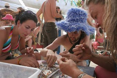 People making art at Center Camp.