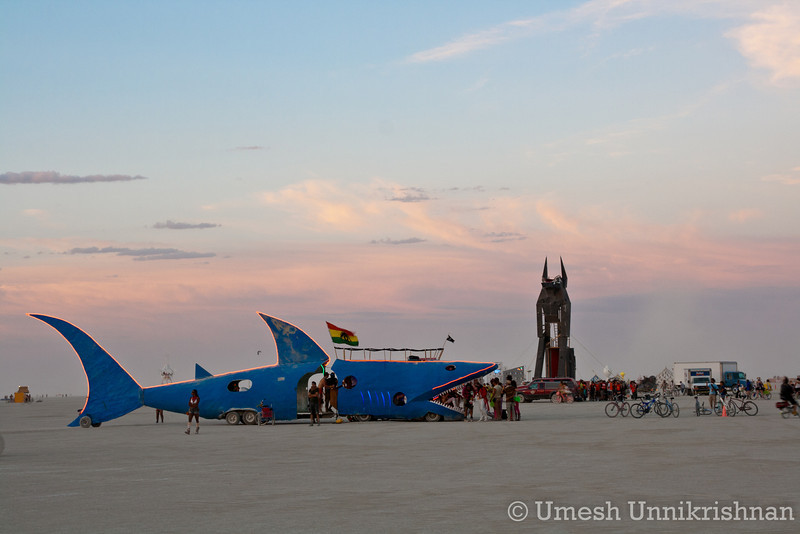 A giant shark and anubis. Only at burning man...