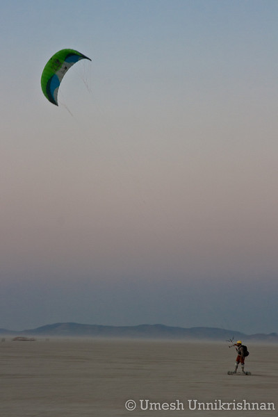 Kiteboarding in the desert