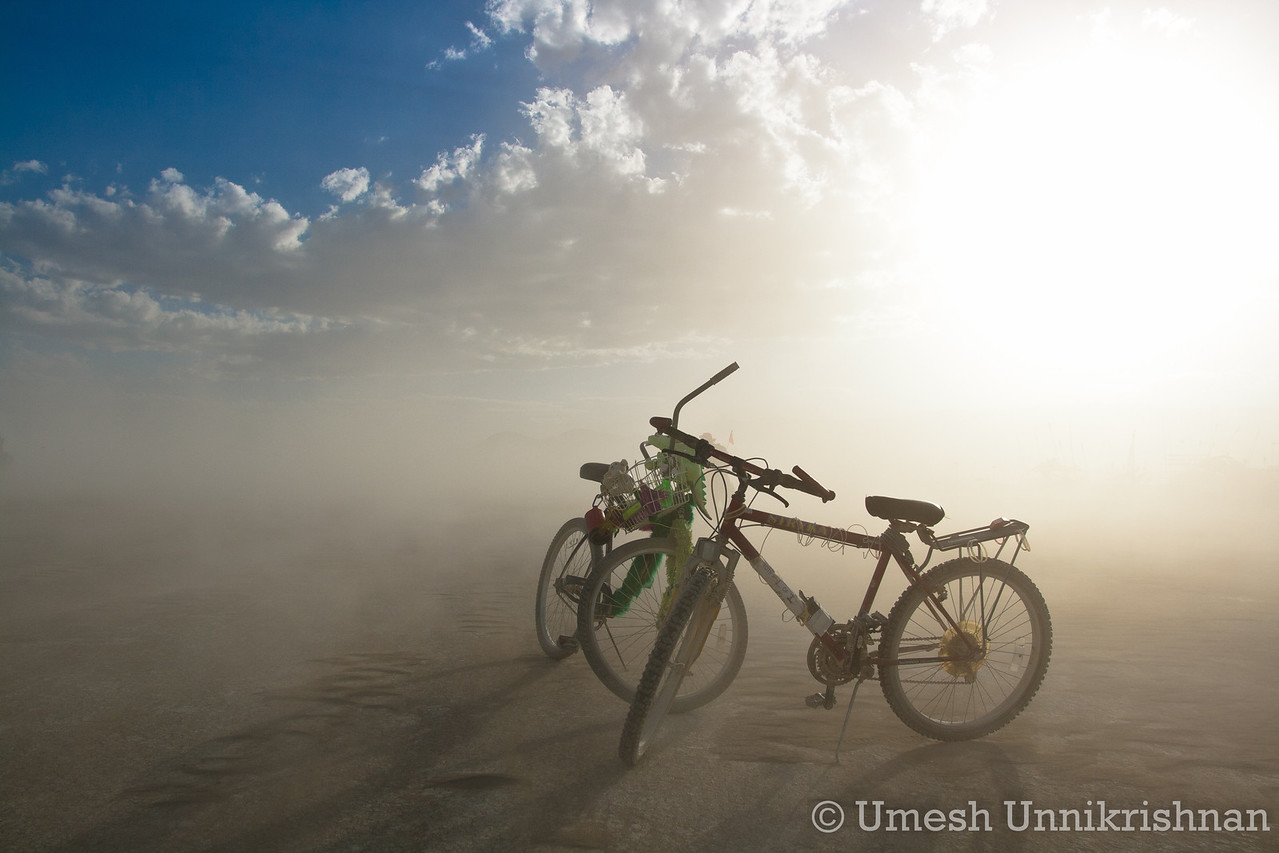 Our bikes in a sandstorm