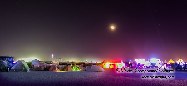 The setting moon over a quiet part of the playa.
