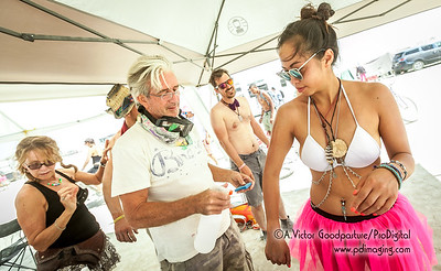 Our camp was the Temple of Anointment. We offered Burning Man tattoos, sunscreen and occasionally . .  .  adult beverages.
