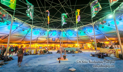 Even at midnight, activiites continue at Center Camp. Basically, Burning Man never sleeps. Something or someone is always offering some type of activity.