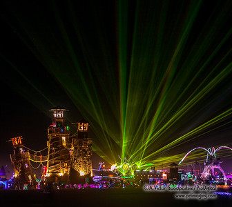 The large center structure is called Black Rock Lighthouse. Everything else around it are art cars—mobile vehicles that are incredibly engineered with lights, sound, and an amazing design theme. So you can see the absolute circus surrounding the Lighthouse (which was burned 1am on Day 9).
