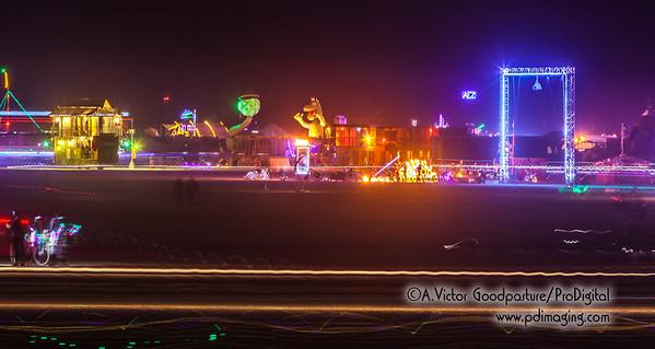 Night activity on the playa.