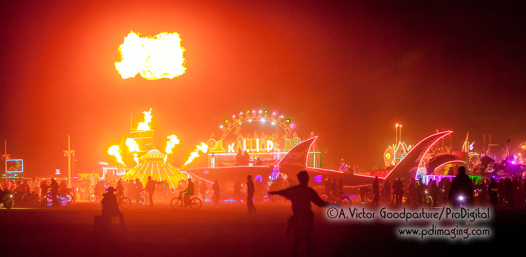 The art cars begin their evening of music, light shows and fiery demonstrations.