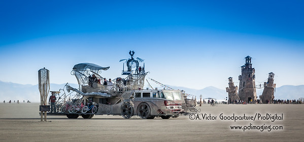 This fantastic art car on a fire truck chassis can scissor-lift its large center basket 60 feet in the air.