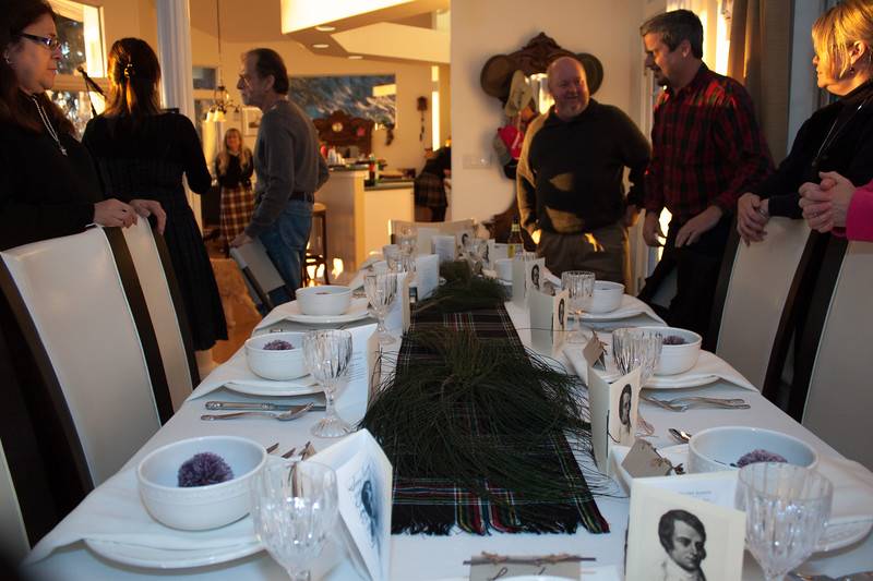 Guests gathered at the Scottish-themed table.