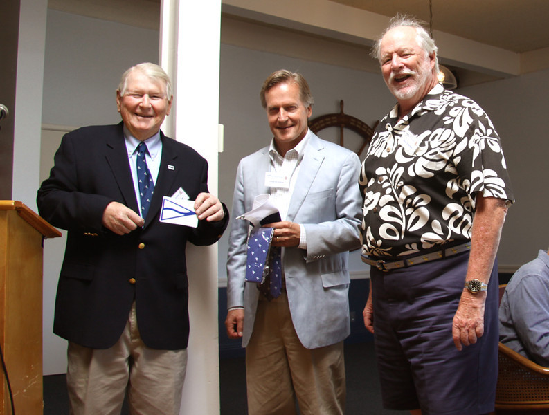 New member, Tom Hutton, welcomed by Comm. Klaus & his sponsor - Photo by R.C. Keefe