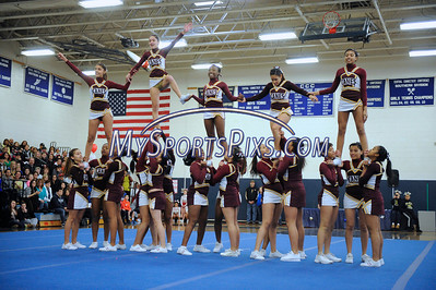 2/2/2013 Mike Orazzi | Staff New Britain High School cheerleaders during the Sixth Annual CCC Cheerleading Competition held at Bristol Eastern High School on Saturday afternoon.