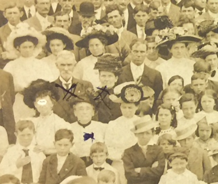 53e. Her mother was born in 1873 and died in 1952 in Alamo. Her father was born in 1871 and died in 1962, also in Alamo. <br /> <br /> I like the young man in front, arms crossed and hat tilted.
