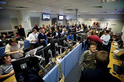 The ALICE control room during the first collision run.
