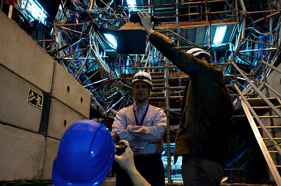 That is me being setup in front of the ALICE experiment. Photo taken by Erika.