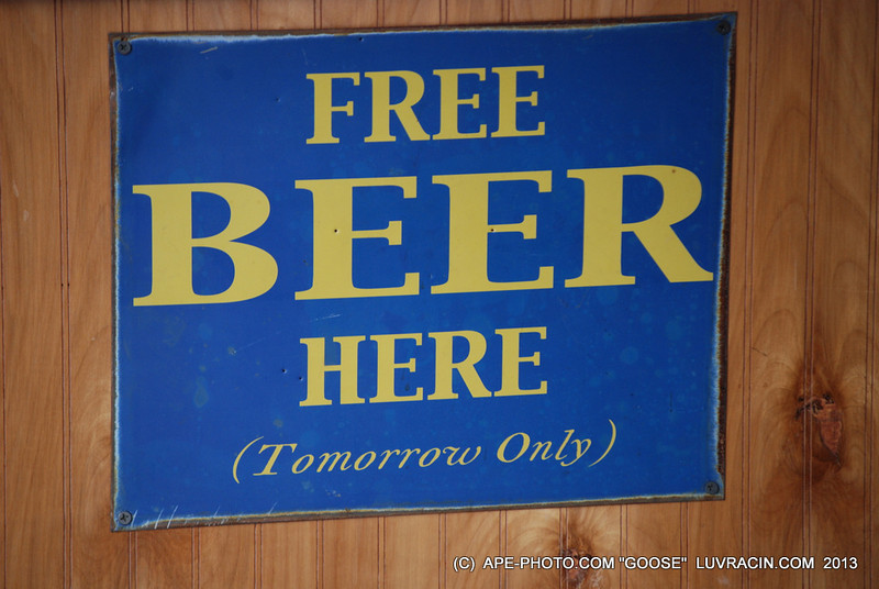 "FREE BEER HERE ""TOMORROW ONLY"""