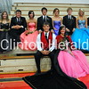 Clinton High School Homecoming King and Queen candidates. Top Row: Hannah Bolen, Brett Annoreno, Bethany Mootz, Cody Collender, Marquel Schultheis, Nolan Kenney, Senior Attendants Jessica King and Emmanuel Marcos-Teles. Bottom Row: King Will Carr and Queen Rubina Vidal. • Katie Dahlstrom/Clinton Herald
