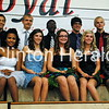 Clinton High School Homecoming Freshman Candidates. Top Row: Theo Harris, Luke Larkin, Marquis Robinson, Isaiah Bailey and Justin Horst. Bottom Row: Raven Jones, Hannah Burken, Jordan Woods, Attendant Summer Bahr and Gracie Buech. • Katie Dahlstrom/Clinton Herald