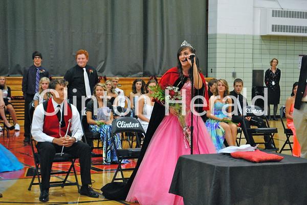 Clinton High School Homecoming Queen Rubina Vidal gives her acceptance speech during the coronation ceremony on Thursday morning at Clinton High School. • Katie Dahlstrom/Clinton Herald