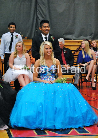 Clinton High School seniors Jessica King and Emmanuel Marcos-Teles  were crowned the senior attendants during the coronation ceremony Thursday morning at Clinton High School. • Katie Dahlstrom/Clinton Herald