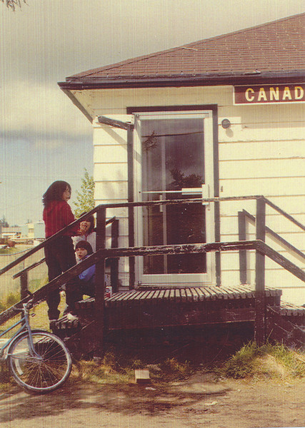 50th anniversary of Canadian Imperial Bank of Commerce (CIBC) branch in Moosonee. 1985 picture of bank front door.