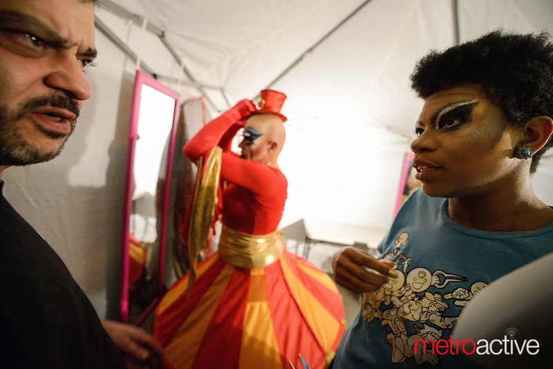 Owner Luis Sarmento discusses logistics with his performers