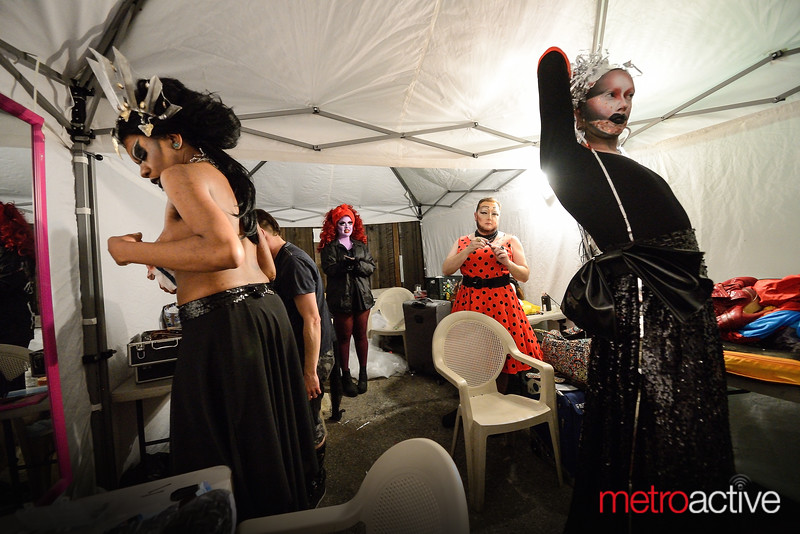 Backstage changing during the set of the night