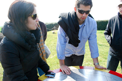 Two undergraduates look at a map while visiting Hillman Strong Point.
