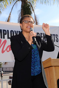 COMMUNITY CALL TO ACTION WITH CONGRESSWOMAN MAXINE WATERS TO EXTEND UNEMPLOYMENT INSURANCE BENEFITS. SHE IS JOINED BY BLACK LOS ANGELES YOUNG BLACK DEMOCRATS, SEIU, CONGRESSWOMAN KAREN BASS, INGLEWOOD MAYOR JAMES BUTSS, GEOR MCKENNA  AND OTHERS AT THE CORNER OF 54 AND CRENSHAW AT THE EMPLOYMENT DEVELOPMENT DEPARTMENT ON SATURDAY JANUARY 25, 2014 VALERIE GOODLOE