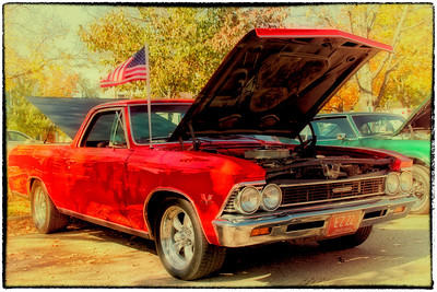 1966 Chevy El Camino at the First Annual CTFA (College Township Fire Dept) Prevention Car Show in Gambier, Ohio on October 8, 2011. (Vintage Effect)