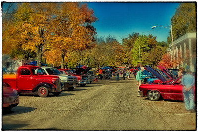 View of the First Annual CTFA (College Township Fire Dept) Prevention Car Show on Gaskin Avenue in Gambier, Ohio on October 8, 2011.