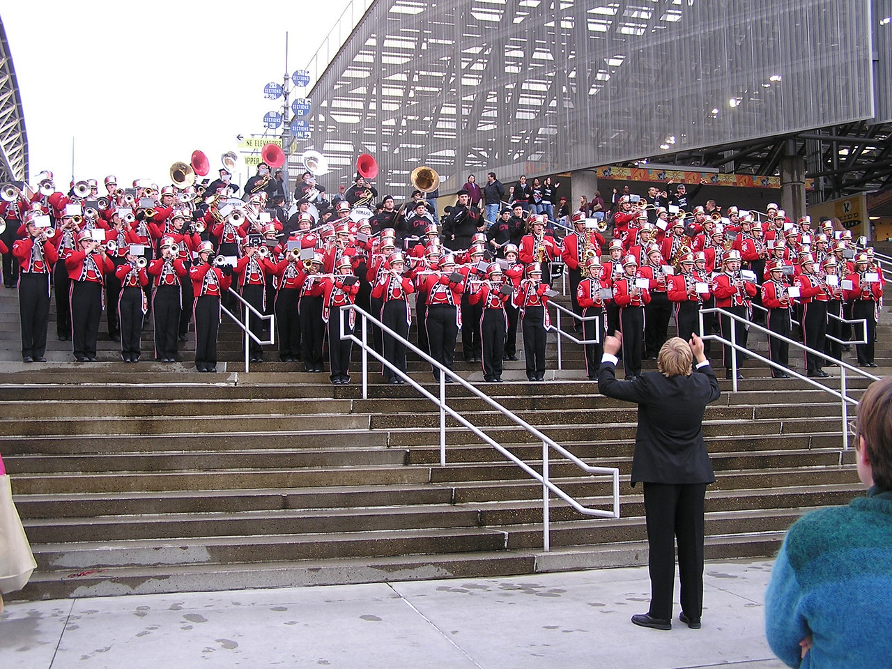 Another view of CWU Band.  The drum major, Mark Klassen,  (with back to camera in foreground) wore a tuxedo.