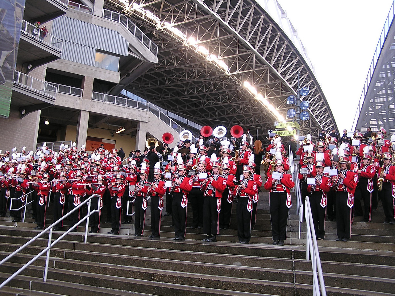 CWU Marching Band in a pre-game band competition.  The Western Washington University Band was standing and playing to the right of the CWU Band.  The bands would alternate playing songs.   Actually, there was no competition.  CWU's band was much better than the smaller WWU band.