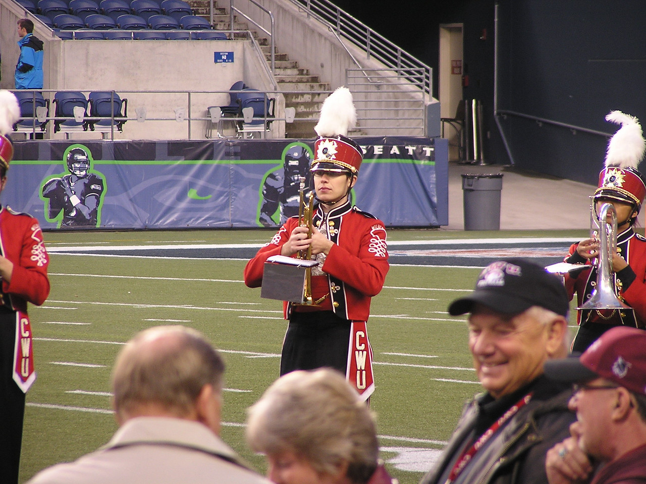 Kevin showing good form for a marching trumpeter.