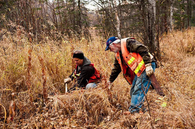 Surveyors establishing the property line