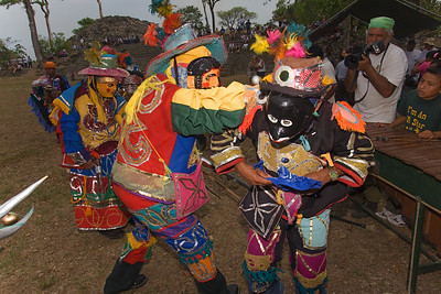 Deer Dance being performed in the main plaza at Lubaantun Archaeological Site in Toledo, Belize.
