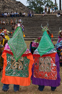 The elaborate costumes worn by the dancers of the Deer Dance - Lubaantun, Toledo, Belize.