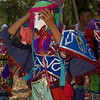 Mayan men getting dressed and ready to perform the Deer Dance in the main plaza at Lubaantun Archaeological Maya site in Toledo, Belize.